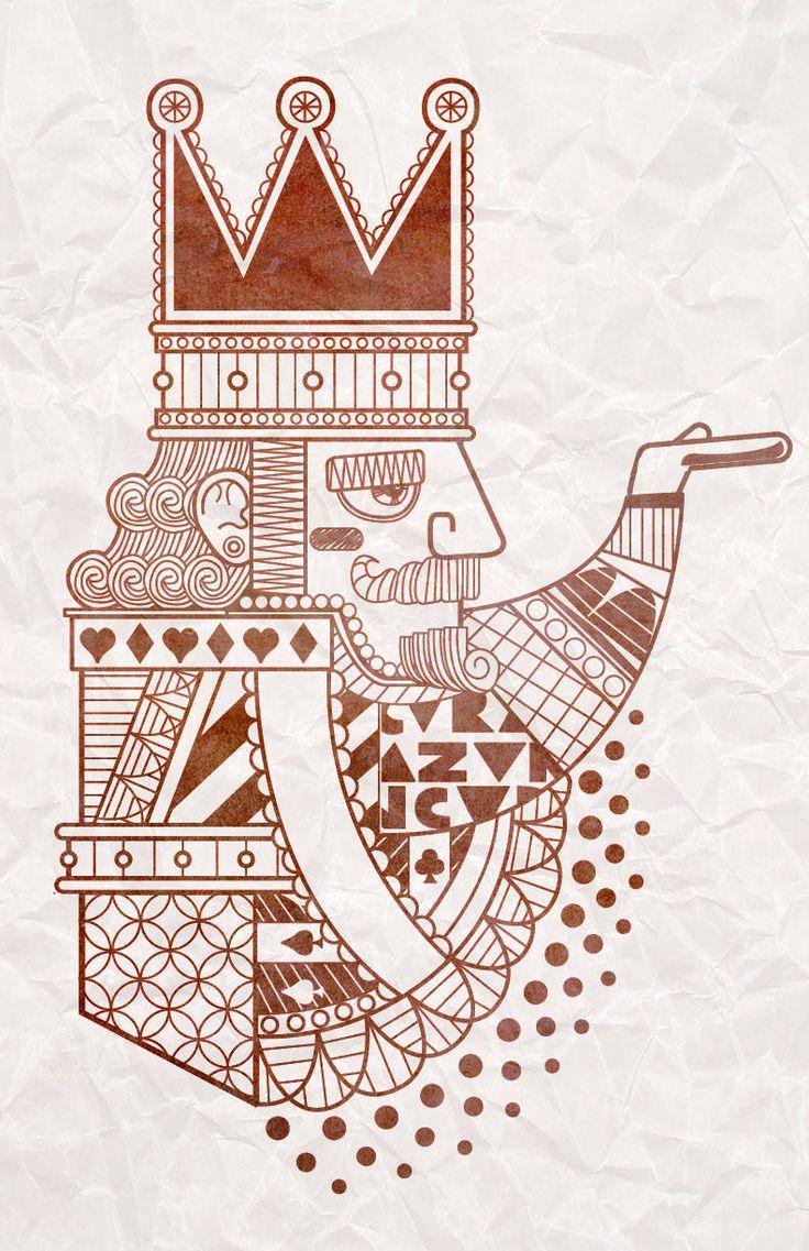 Rey de corazones. Ilustración digital.  http://www.heoss.cl/