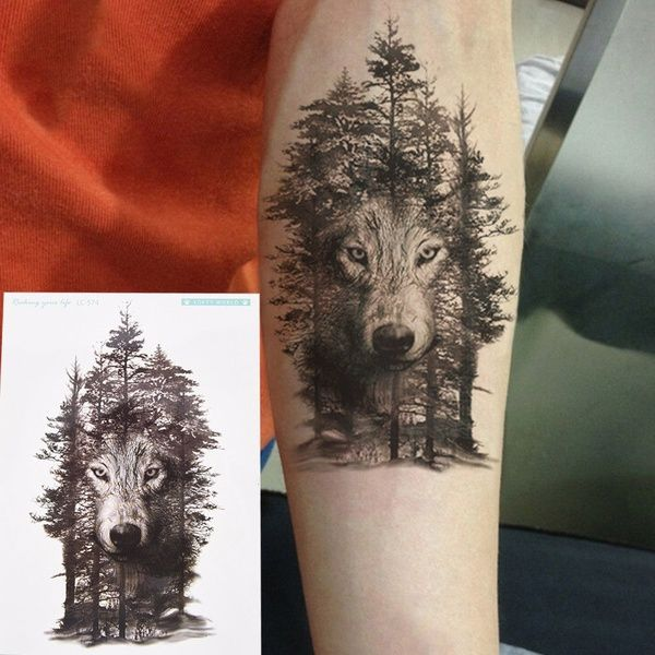 Waterproof Temporary Fake Tattoo Stickers Grey Forest Wolf Animals Large Kl Forest Tattoos Tattoo Sleeve Designs Fake Tattoos