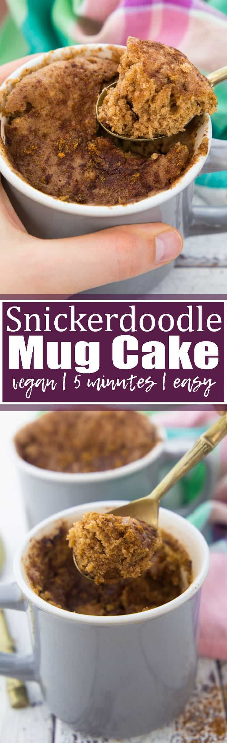 This vegan mug cake is absolutely perfect when you feel like having a cake for dessert but don't have enough time for baking! And the best thing is that it's a snickerdoodle mug cake!! 5 minutes is all you need for this easy individual-size dessert! Vegan desserts at their best!