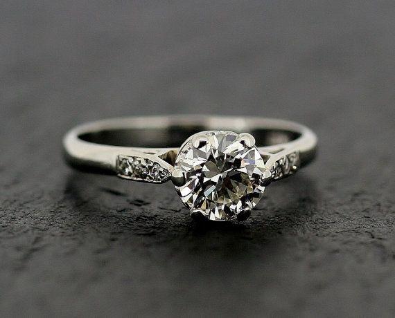 bague de fiançailles diamant Vintage des années 1950