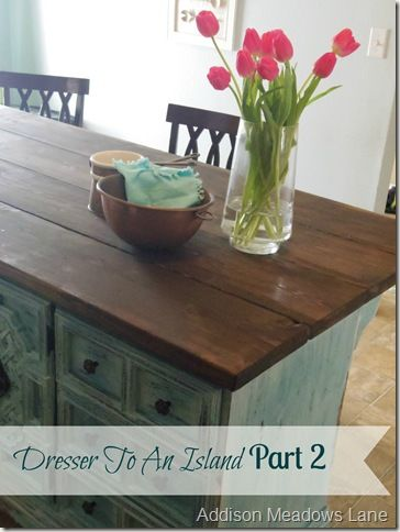 Dresser To An Island The Chronicles Part 2. by Addison Meadows Lane  ~ shared at DIY Sunday Showcase Link Party on VMG206 (Saturdays at 5pm CST). #diyshowcase  #dressertoisland #diyisland
