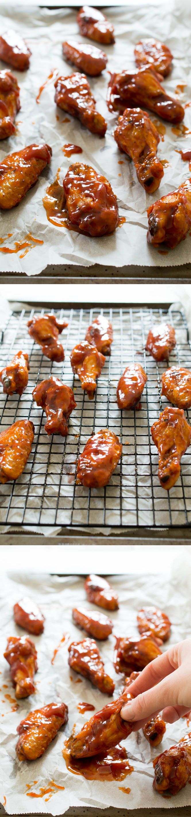 Crispy Baked Honey Chipotle Chicken Wings. Super easy to make and healthier than fried. Tossed in a sweet and spicy Honey Chipotle sauce! | chefsavvy.com #recipe #appetizer #wings #chipotle