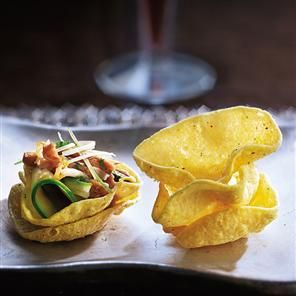 Tamarind duck and herb salad on mini poppadums Recipe | delicious. Magazine free recipes