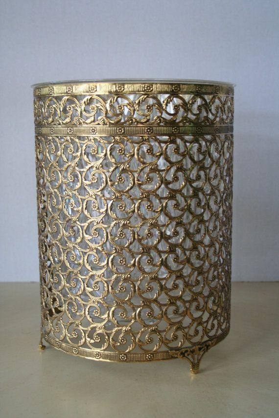 Hollywood regency brass waste basket.