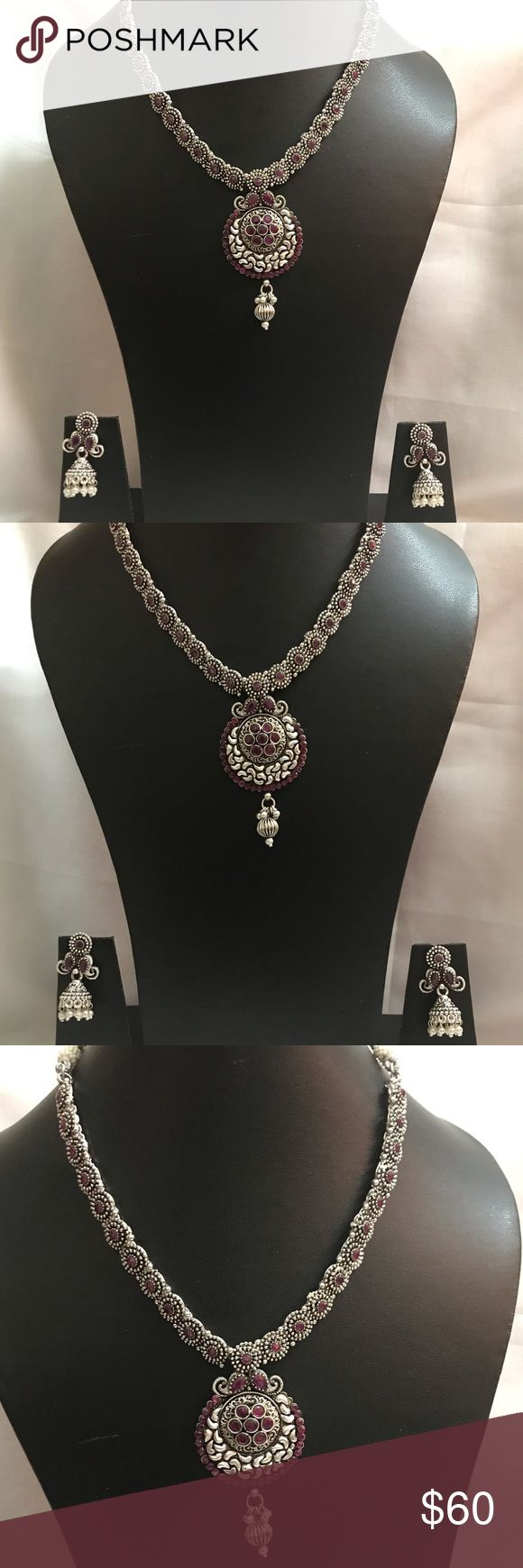 Stunning Traditional Oxidized Ruby Necklace This i…