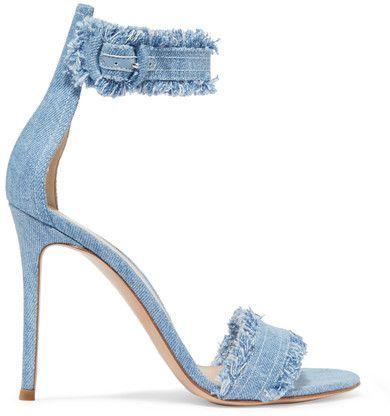 Gianvito Rossi - Lola Frayed Denim Sandals - Light denim sandals