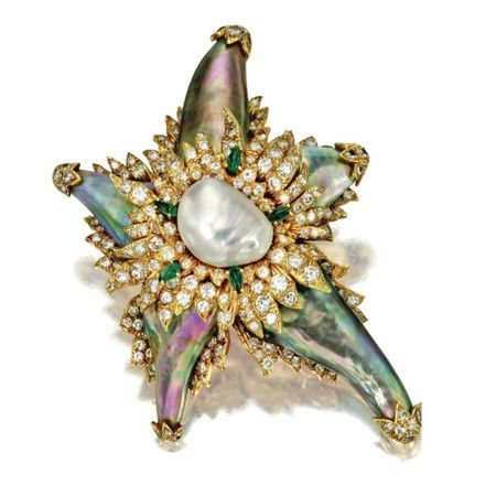 Abalone pearl, cultured pearl, diamond and emerald brooch, David Webb. photo courtesy Sotheby's: