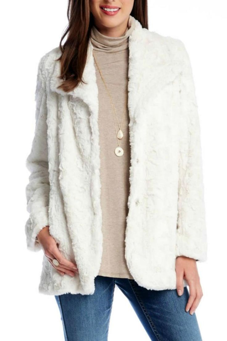 Gorgeous white faux fur jacket with collar, pockets, and snap closures in front. Stay warm this winter in style! Perfect over dresses for a night out on the town, or with pants and your favorite blouse for a more dressed-down look!   Faux Fur Coat by Karen Kane. Clothing - Jackets, Coats & Blazers - Coats Texas