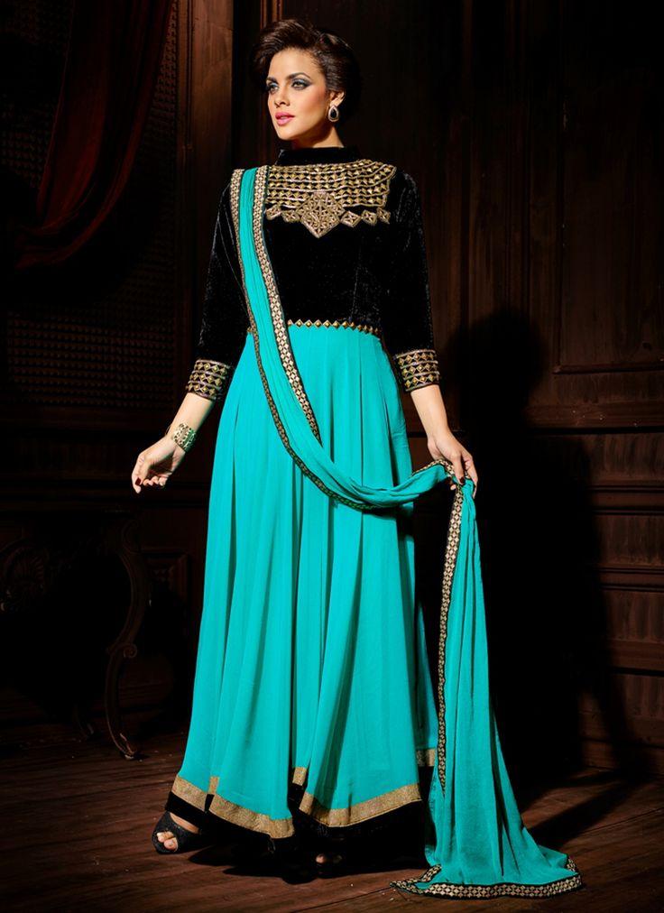 Incredible Zari Work Blue Velvet Anarkali Salwar Suit