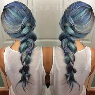 Just look at this beautiful blend of soft blues  greens  and grays    Denim Hair Is The Most Gorgeous New Hair Trend Yet