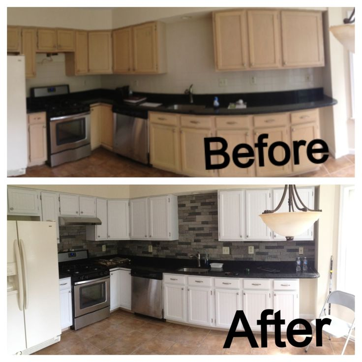 Before and after of my kitchen. Added the airstone backsplash. Added beadboard and painted the cabinets.