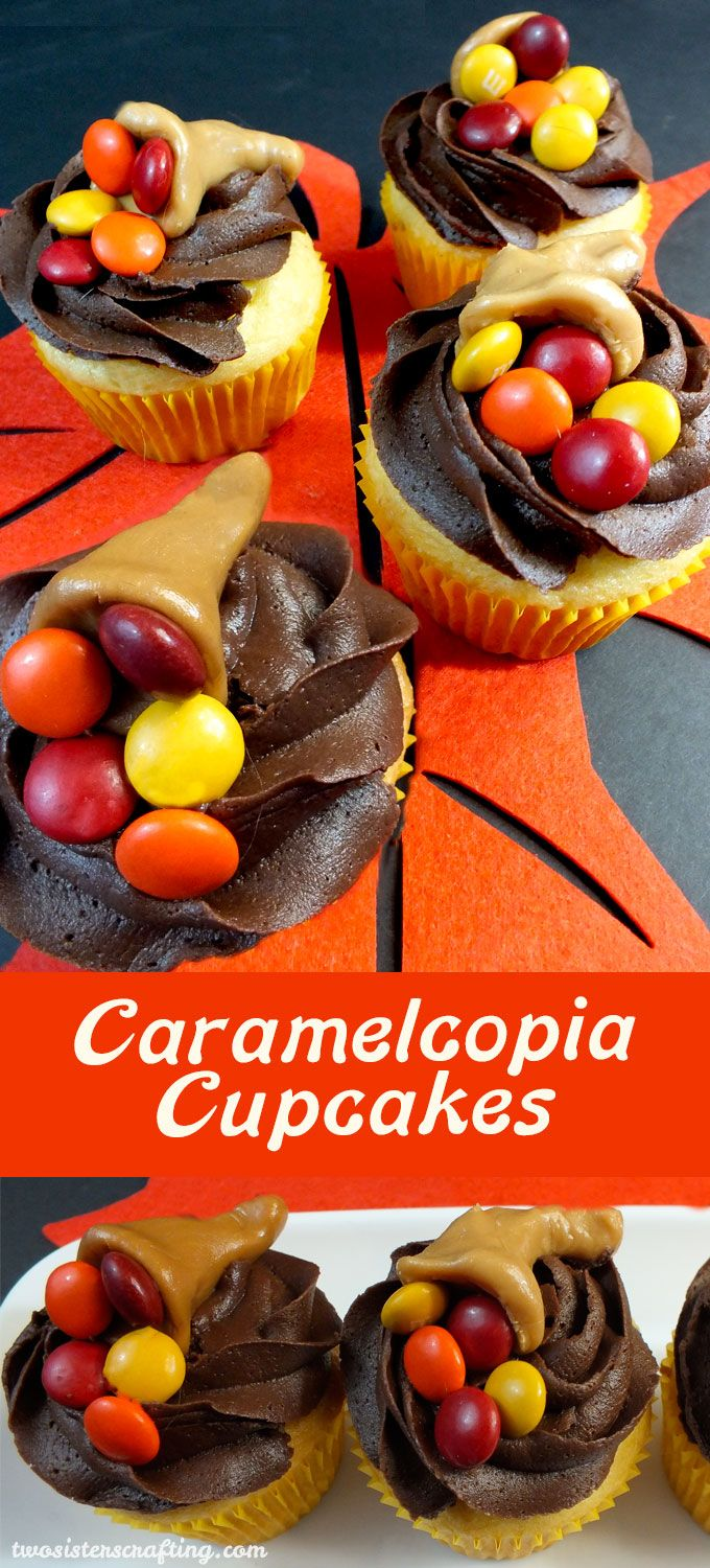 Thanksgiving Caramelcopia Cupcakes - these super cute Thanksgiving Cupcakes are so easy to make and will look great on your Thanksgiving Dessert Table.  Follow us for more great Thanksgiving Food Ideas.