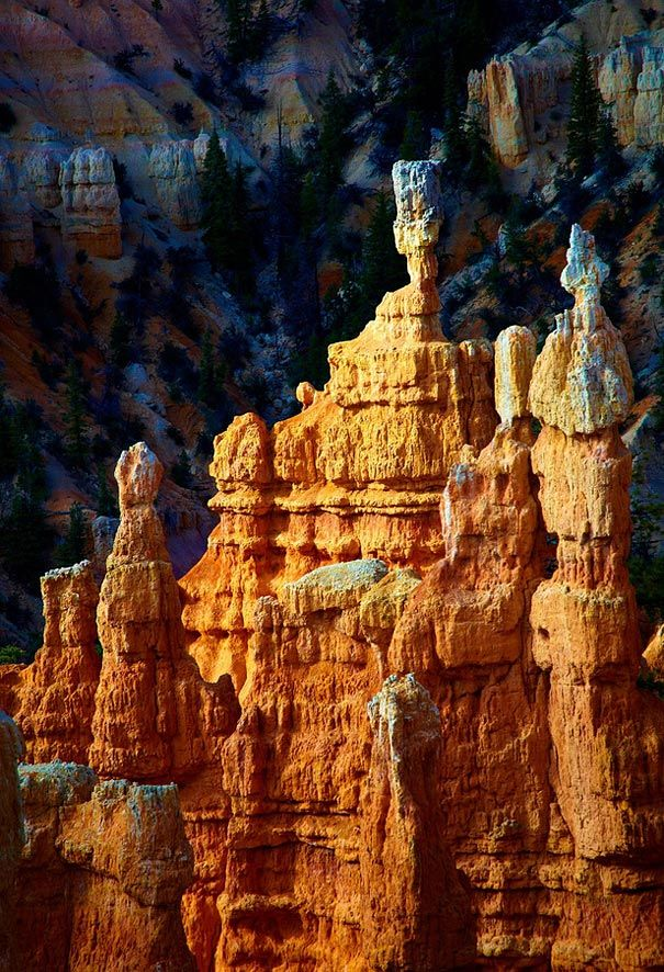 Claron sandstone pinnacle in Bryce Canyon National Park. Although it is the smallest of Utah's national parks at 35,835 acres, Bryce Canyon contains an outsized number of some of the most beautiful, unlikely rock formations on earth. By Paul Fundenburg.