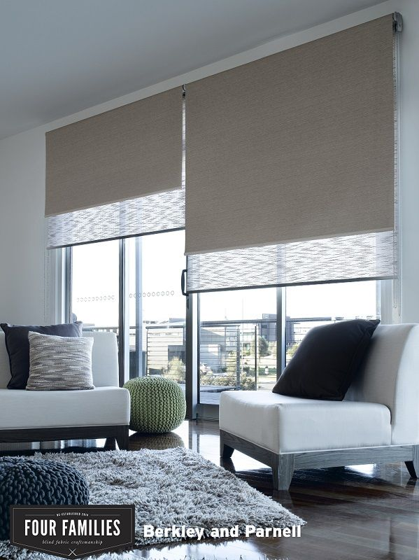 Stylish roller blinds in 'Berkeley Putty and Parnel Cocoa' by Four Families. Available through Guthrie Bowron stores.