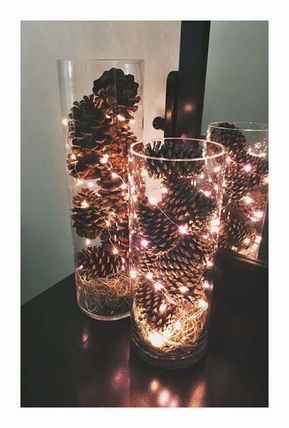 Pommes de pain avec guirlandes lumineuses dans vases transparents #deco #décora
