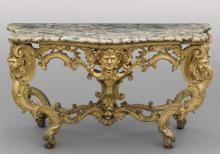 Console Luigi XIV in legno finemente intagliato e dorato con teste di Angeli, gambe unite da traversa con figura femminile, piano di marmo lumachello coevo, Roma I metà sec.XVIII