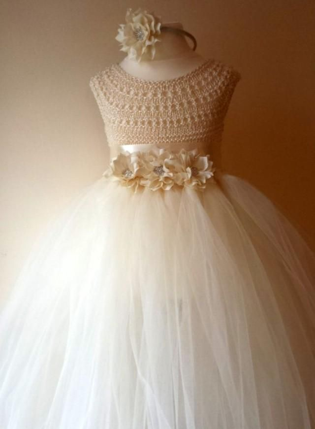 """Ivory Flower Girl Dress, Ivory Tutu Dress, Bridesmaid Dress, Princess Dress, Ivory Crochet Top Tulle Dress, Ivory Hand Knit Tutu Dress [   """"Ivory Flower girl dress ivory tutu dress by MimozaLuxuryHandKnit, SR: Love the look how skirt mix with knitted top (would change top design though)"""",   """"Weddbook is a content discovery engine mostly specialized on wedding concept. You can collect images, videos or articles you discovered organize them, add your own ideas to your collections and share…"""
