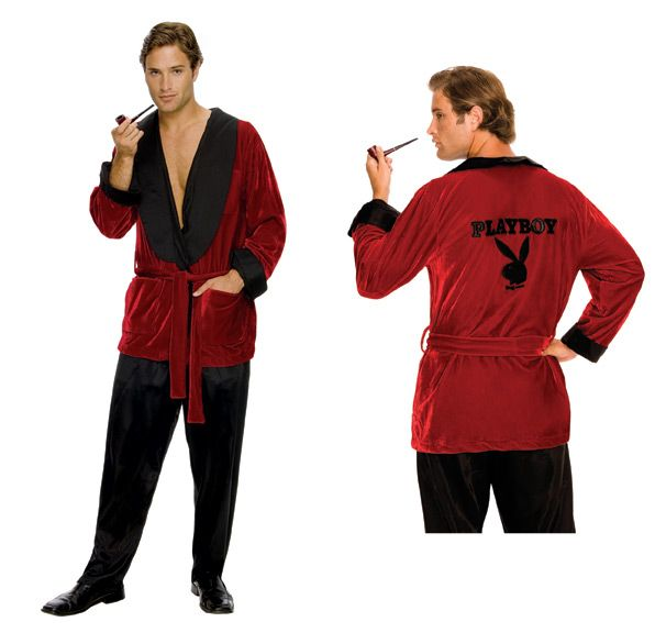 Hugh Hefner Smoking Jacket Halloween Costume - Rubies.  Hey Hef, where's your Playboy Bunny?