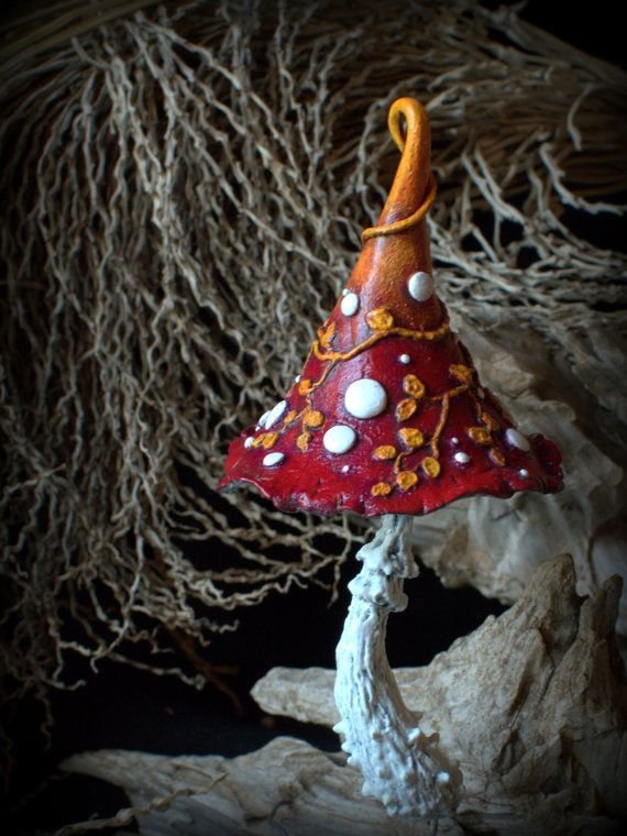 Rustic red orange with autumn leaves with roses' thorns fairy garden fantasy mushroom  ,polymer clay toadstool Home decor,Fairy Garden