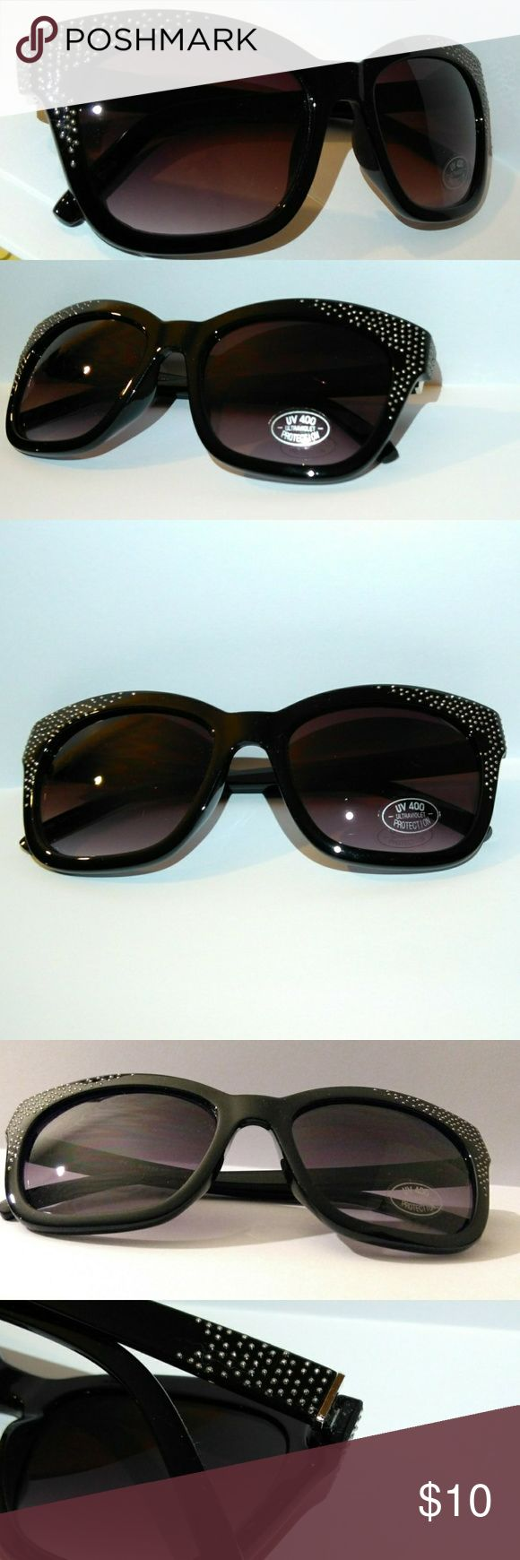 Sunnies Oversized Studded Women's Black Sunglasses Oversized Sunnies Black Horned rim Silver studded accents UV 400 Ultraviolet Protection Brand new High Quality What u C is what u get Free Gifts+10% off Bundles  ♡Engaged After 3yrs Long Distance Raising $ 4 Visa+airfare+Wedding Plz Follow/Share Thanks♡ ♡I'm grateful 4 your business♡If there's any problem, plz Let me know♡ ✓Worry Free Shop ✓Free Returns - Refund or Exchange unbranded Accessories Sunglasses