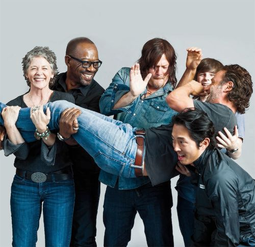 Melissa McBride,Lennie James,Norman Reedus,Chandler Riggs,Andrew Lincoln and Steven Yeun photographed by Michael Muller for Entertainment Weekly