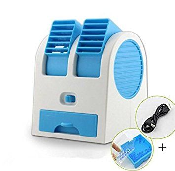 CONNECTWIDE® Mini Fan & Portable Dual Bladeless Small Air Conditioner Water Air Cooler Powered by USB & Battery (1pcs) Color-Assorted, Size-116mm x 109mm x 136mm