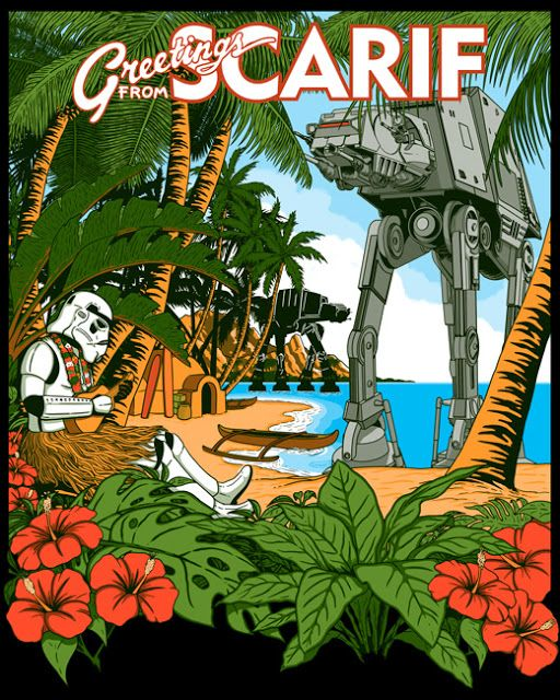 Greetings from Scarif.  A Rogue One's beach troppers parody inspired by the posters from Kerne Erickson. #scarif #stormtroppers #travel #funny