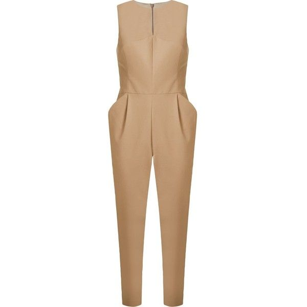 Andrea Marques Cropped Tailored Jumpsuit ($466) ❤ liked on Polyvore featuring jumpsuits, brown, cropped jumpsuit, brown jumpsuit, andrea marques, tailored jumpsuit and beige jumpsuit