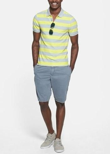 Try teaming a yellow horizontal striped polo with grey shorts for an easy  to wear, everyday look. Cream canvas low top sneakers will add a new  dimension to ...
