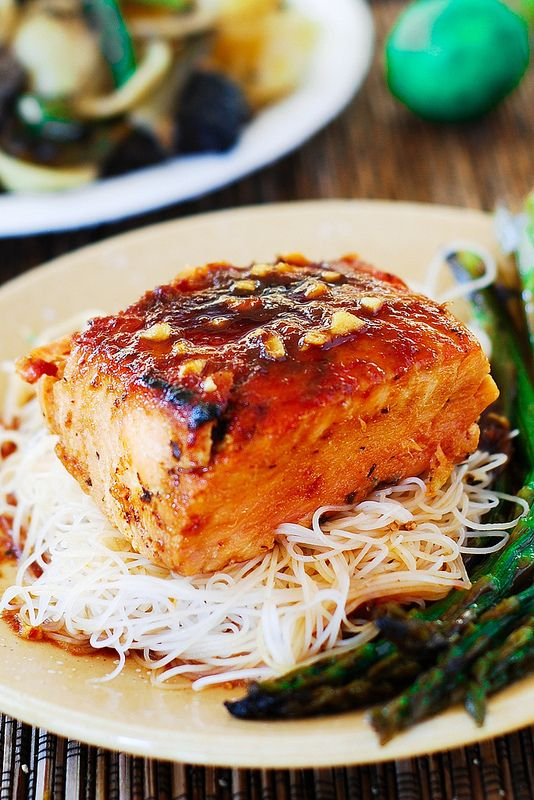 asian glazed salmon + rice noodles + asparagus.