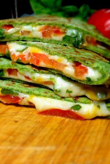 Margarita Pizza Quesadilla on Homemade Spinach Tortillas