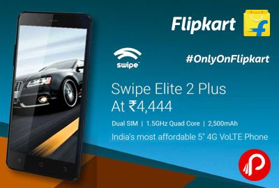 "Flipkart #OnlyOnFlipkart brings #SwipeElite2Plus #4G #VoLTE #Mobile at Rs.4444. Dual Sim, 1.5GHz Quad Core, 5"" FWVGA Display, 8 GB ROM, 1 GB RAM, 5MP Primary Camera 