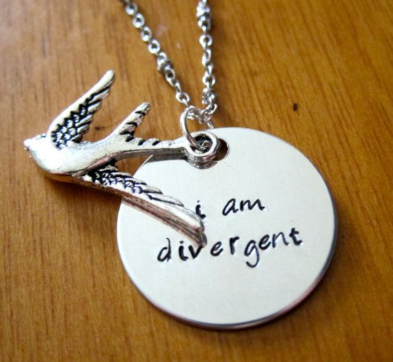 """Divergent Inspired Necklace: Tris Quote """"I am divergent"""". Birds Tattoo, Silver colored, charm pendant, hand stamped jewelry."""