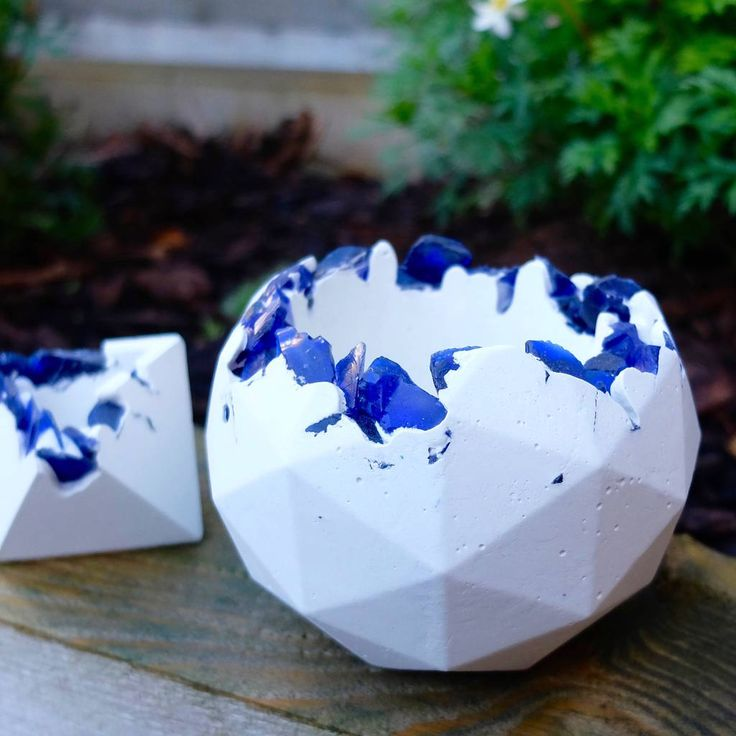 Concrete And Blue Glass Geometric Sphere Planter