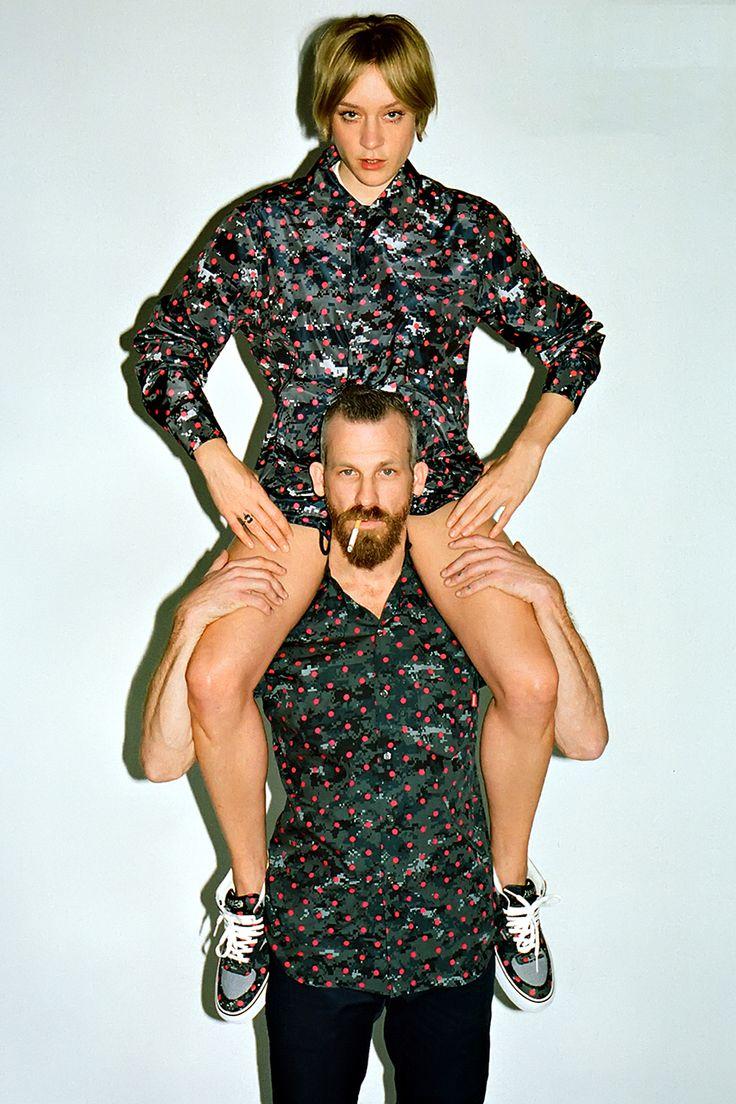 Chloë Sevigny on Jason Dill's shoulders wearing Comme des Garçons, spring 2013.