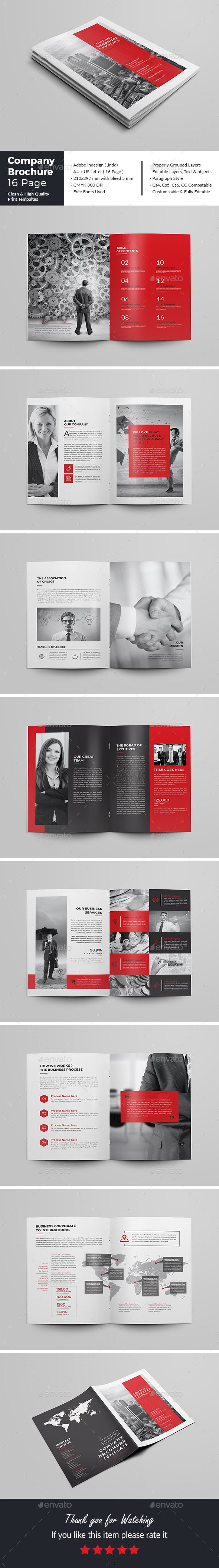Company Brochure Template 16 Page — InDesign INDD #clean #minimal • Download ➝ https://graphicriver.net/item/company-brochure-template-16-page/19571557?ref=pxcr