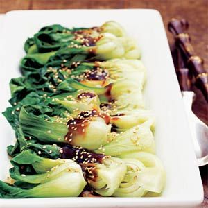 Pan-Steamed Asian Greens with Shiitake Sauce  - Bok Choy, or other greens, even broccoli. it's all the sauce!