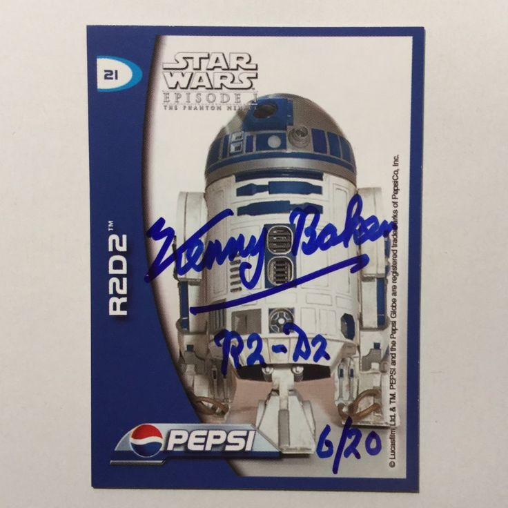 Star Wars R2D2 Kenny Baker numbered signed card w/COA