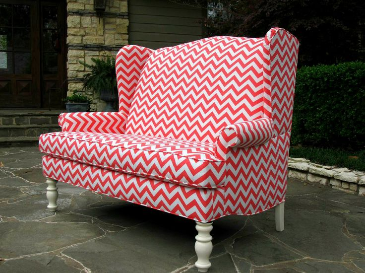 coral and white wingback settee farmers branch