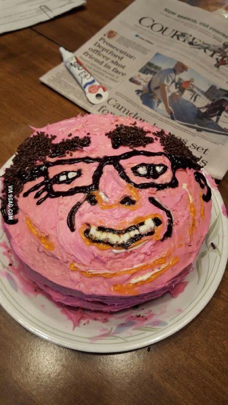 Someone made a Danny Devito cake for a friend.