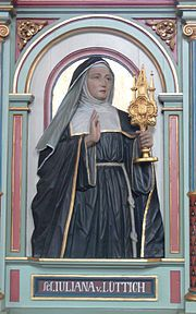 """Fave so far today: St. Juliana of Liège, mystic, Feast of Corpus Christi promoter, and possible """"author"""" of the Latin Office."""