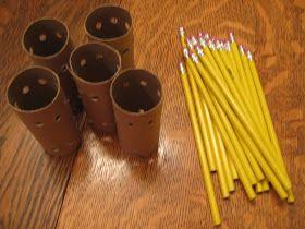 Bouwen met wc rollen en potloden