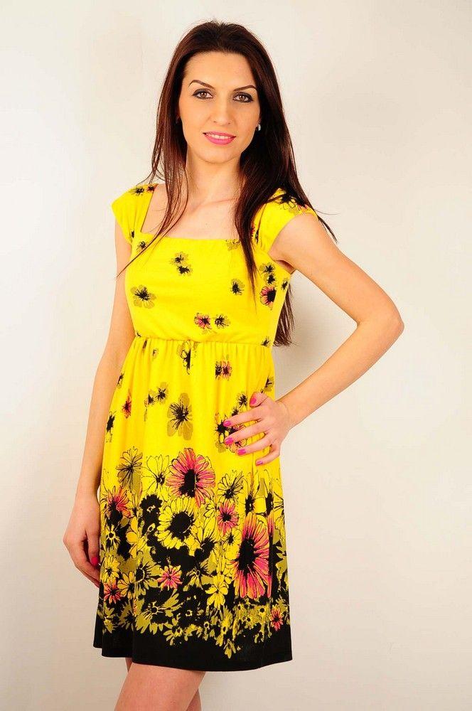 Rochie RVL galbena cu imprimeu floral