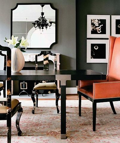 Black Lacquer Modern Dining Table And Glossy Asian Room Chairs Leather Orange Captain Wingback Wing Back With Nail Head Trim