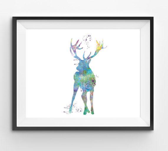 Colorful Reindeer Watercolor Print Reindeer Print Reindeer