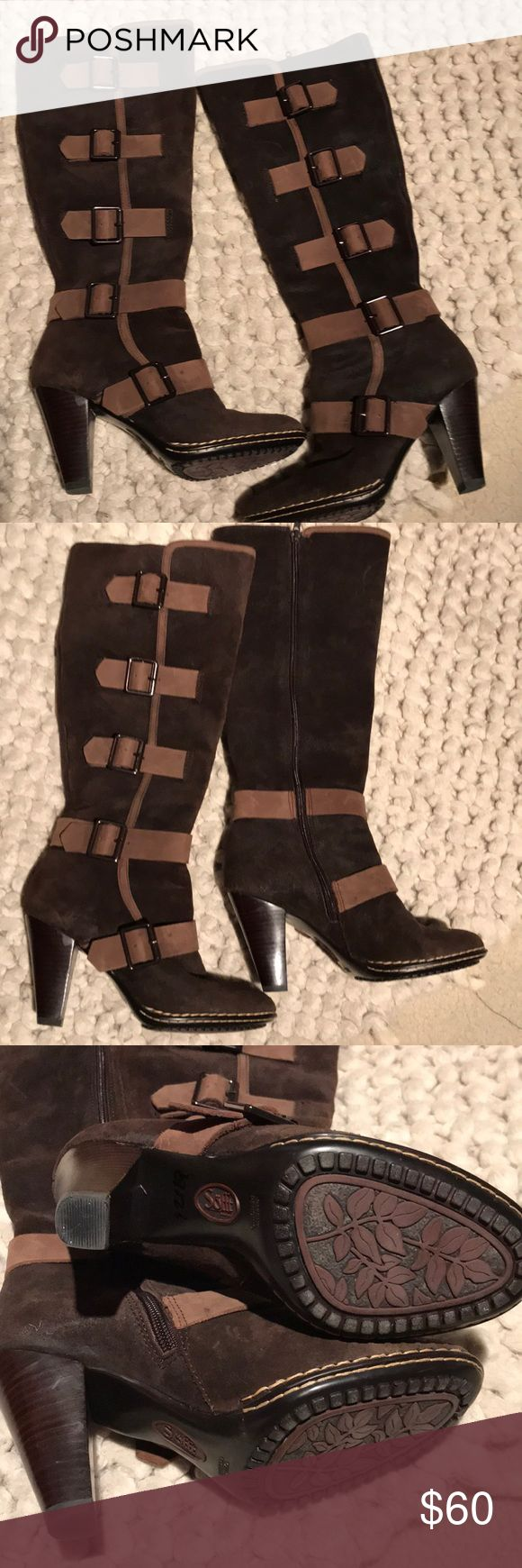 Sofft two tone buckle boots Sofft two toned, chocolate brown suede with lighter brown on buckles, heeled boot, very comfortable. Sofft Shoes Heeled Boots