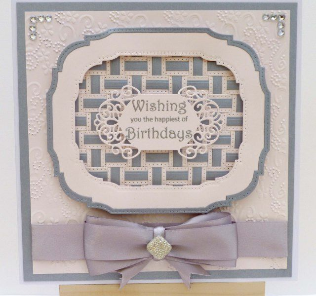 Card using Sue Wilson weaving dies