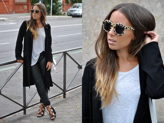 Get this look: http://lb.nu/look/7813406  More looks by Claudia Villanueva: http://lb.nu/ctrendencies  Items in this look:  Pull & Bear Sunglasses, Bershka T Shirt, New Look Duster Coat, Primark Bag, H&M Pants, Zara Sandals   #casual #chic #street #leatherpants #leopardprint #black #dustercoat #fall #dark