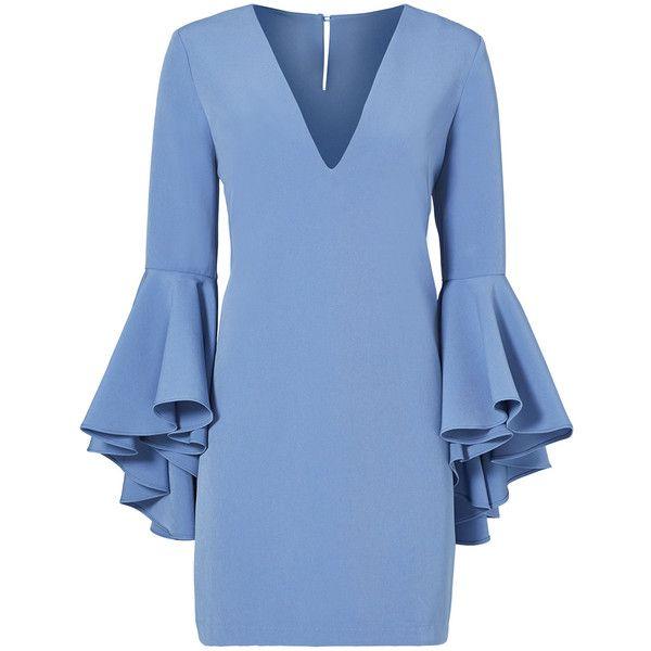 Rental Milly Blue Italian Nicole Dress found on Polyvore featuring dresses, blue, milly dresses, keyhole dress, long sleeve shift dress, v neck dress and blue dress