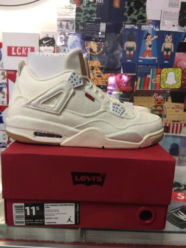 00d9c78f783bef Air Jordan 4 Retro Levi s NRG White AO2571 100 Size 11.5